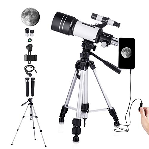 150X Telescope for Kids Astronomy Beginners Adults, 70mm HD Refractor Telescope for Astronomy, Starter Scope with Tripod, Phone Adapter, Finder Scope, Moon Filter