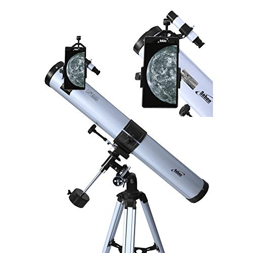Seben 76/900 EQ-2 - Reflecting telescope for astronomy incl. Smartphone adapter, mount, eyepiece filter set