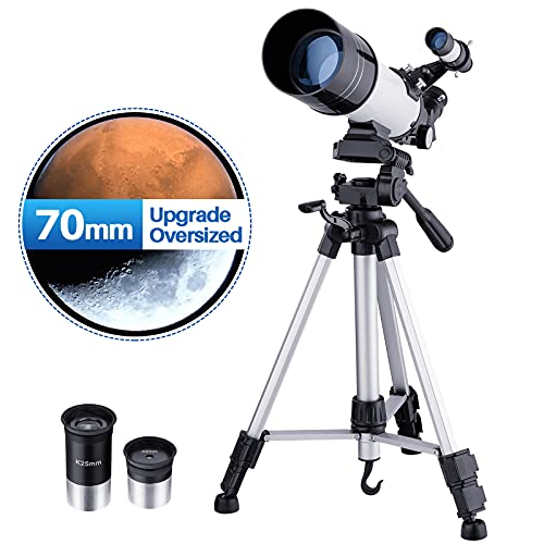 Astronomy Telescopes for Kids Adults Beginners, 40070 Refractor Astronomy Telescope with Full Size Tripod - White