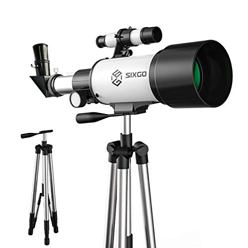 Telescopes for Astronomy Adult SIXGO Telescope Kids Beginners Adults 15x-150x SIXGO 70/300 FMC Glass Optical Refractor Telescope with Tripod, Phone Adapter, Finder Scope, Moon Filter