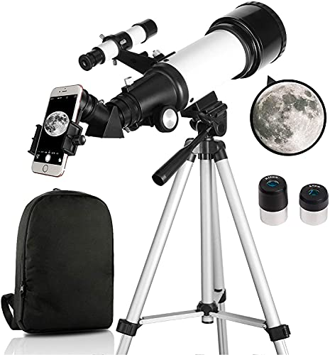 OYS Telescope, Telescopes for Adults, 70mm Aperture 400mm AZ Mount, Telescope for Kids Beginners, Fully Multi-Coated Optics, Astronomy Refractor Telescope with Tripod, Phone Adapter, Backpack