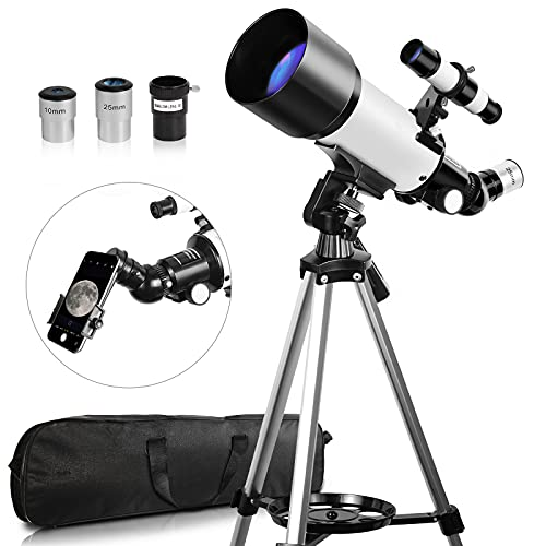 Telescope, Telescopes for Adults, 70mm Aperture 400mm Focal Length, Telescope for Adults Astronomy Travel Refractor Telescope with Carry Bag, Gift for Kids