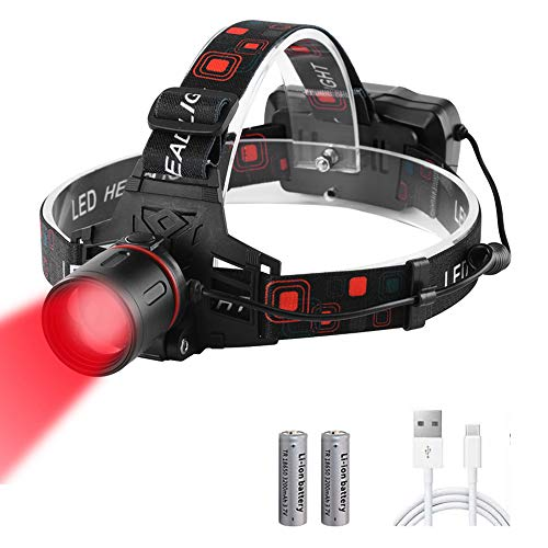 Head Torch Red Light, WESLITE Red LED Hunting Headlamp USB Rechargeable Super Bright XML-T6 Head Light with Red Filter Zoomable for Coon Hog Coyote Varmint Hunting, Astronomy, Stargazing, Night Vision