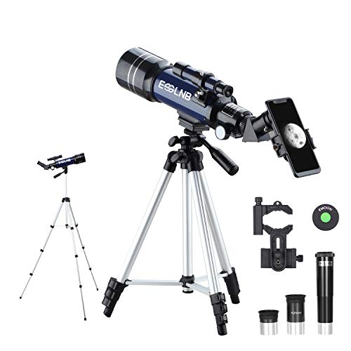 ESSLNB Telescope 36070 Telescopes for Astronomy Adult with Adjustable Tripod and Phone Adapter 70mm Fully Coated Lens 3X Barlow Lens Moon Filter