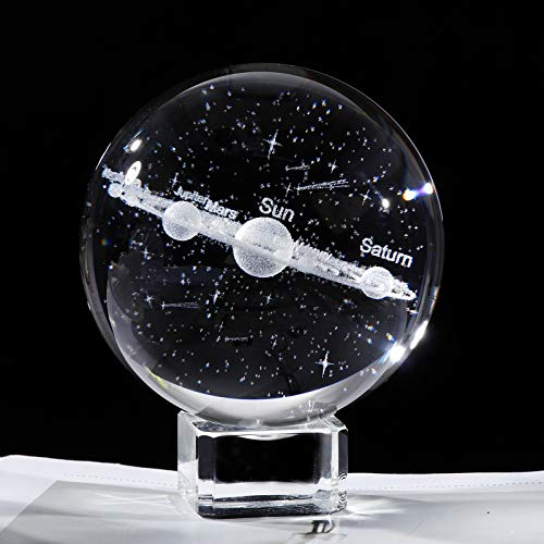 """3D Crystal Planet Solar System Model 2.36"""" Ball Engraving Shooting Star, Centerpiece Ornament with Crystal Base, Gift for Astronomy Enthusiast"""