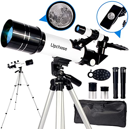 Upchase Astronomical Telescope,400/70mm Refractor Telescope for Kids and Astronomy Beginners,with Lightweight Tripod,Good Partner to View Landscape and Planet,Perfect for Children Educational and Gift