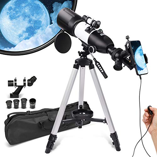 Telescope for Adults kids Beginners,Triple Rotatable Eyepieces 80mm Aperture 400mm Mount Astronomical Refracting Telescope, HD high Magnification, Portable and Equipped with Phone Photo Adapter