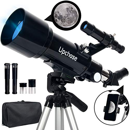Upchase Astronomical Telescope, 400/70mm Black, Refractor Telescope for Kids Beginners Adult, with Adjustable Tripod, Phone Adapter Mount and Backpack, Perfect for Children Educational and Gift