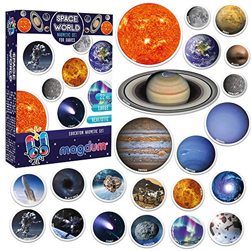 MAGDUM SPACE Photo Solar System Learning Magnets for kids- Planet Astronomy Universe Galaxy Magnets for Fridge- Magnetic EDUcational toys toddlers baby 3 year- Astrology Planets Space-lover BEST GIFT
